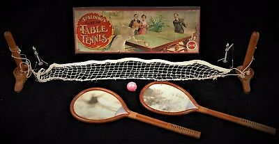 C. 1902 Spalding's Game Of Table Tennis Lithograph Boxed Set - Bamboo Rackets