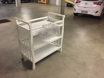 White  baby change table/changer / 2 shelves  good condition