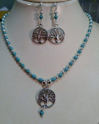 """Native American Stone Necklace Earring Set Turquoise Silver Beads """"Tree of Life"""""""
