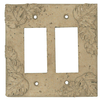 Resin Travertine Faux Stone Switch Plate Cover - Double Rocker GFCI Leaves Dark