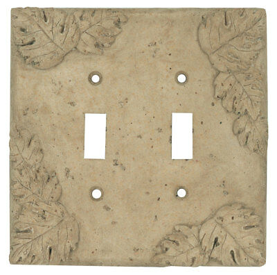 Resin Travertine Faux Stone Switch Plate Cover  Double Toggle Switch Leaves Dark