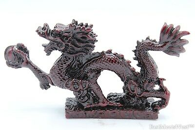 Mini Red Wood Look Lucky Feng Shui Protection Dragon For Power n Success