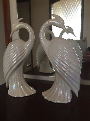 Retro White Ceramic Egret / Heron Bird Figurines,Art Deco Pair