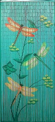 Bamboo Beaded Door Curtain - Dragonflies Divider or Wall Art)