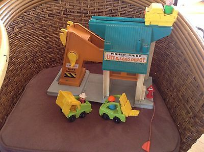 Vintage Fisher Price Play Family Lift And Load Depot