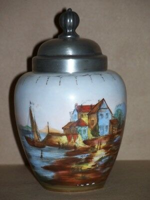 Chinese Porcelain Tea Caddy Ginger Jar with Inside Tin Lid Under Cover Boat NR