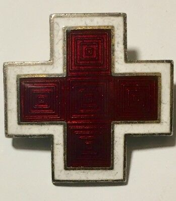 Vintage Enamel Sterling Red Cross Pin Brooch Sterling  Silver
