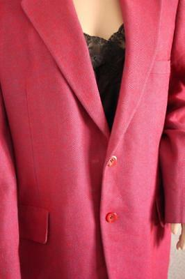 Vintage Cashmere Mens Striped Blazer Fuschia Blue Jacket Quality Sport Coat