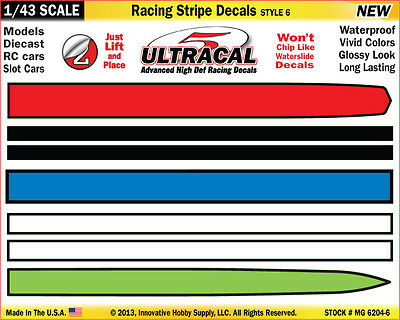 MG6204-6 - 1/43 UltraCal Blue Green Stripe Decals Stickers Fits SCX Carrera Go