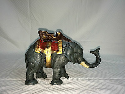 Vintage Elephant Cast Iron Mechanical Coin Bank