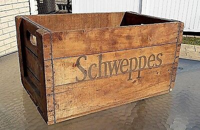 1930 SCHWEPPES Wooden Crate Advertising Soda Pop Crate Antique Box