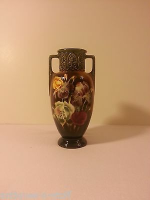 Vintage Czechoslovakia Double Handled Hand Painted W/ Flowers Vase Decor