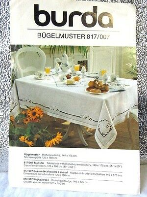 BURDA BUGELMUSTER 817/007 PATTERN~RICHELIEU EMBROIDERY TABLECLOTH Rectangle NIP