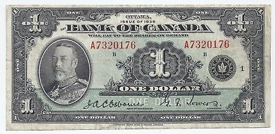 Bank of Canada 1935 one 1 dollar bill A7320176 Osborne & Towers black seal 1