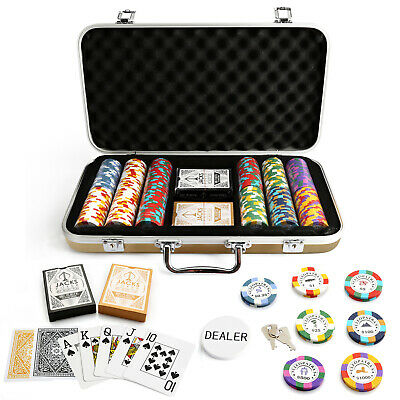 300 Chips Poker Set Gold Case Cleopatra's 14g Chips Plastic Cards Casino New