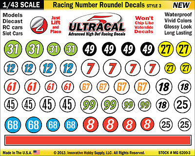 MG6200-3 - 1/43 Scale UltraCal Roundel Decal Sticker Fits Carrera GO SCX Compact