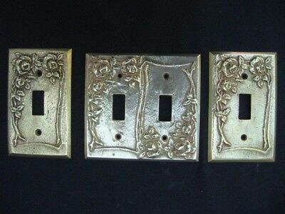 3 Antique Metal Light Switch Plate Cover Roses Solid Cast Brass Single Double