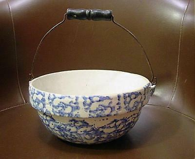 Fine Antique Blue Spongeware Bowl W/ Bale Handle
