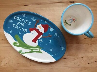 Starbucks 2006 Christmas Holiday COOKIES FOR SANTA Snowman Plate Saucer Cup SET!