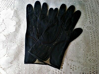 Pair of antique Garter Forquet Black leather ladies' gloves made  France sz 71/2