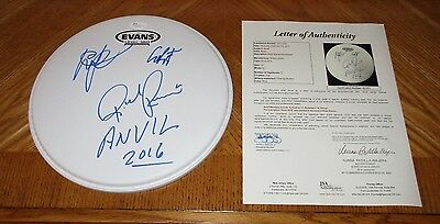 "ANVIL - Signed 10"" Drumhead *Band Autographed* JSA Certified! Lips Kudlow"