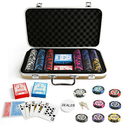 300 Chips Poker Set Gold Case The Star 14g Chips Plastic Cards Casino New