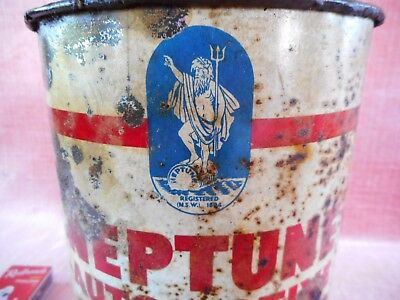 Old Antique Rare Early Neptune Australia Large Grease Tin Motor Oil Tin Can
