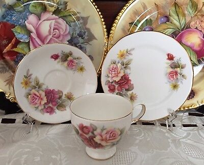 Vintage Queen Anne England Bone China Rose Pattern No 8517 Trio - C 1950's