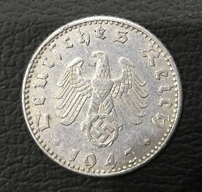 1943 Germany 50 Reichs Pfenning Coin Rare
