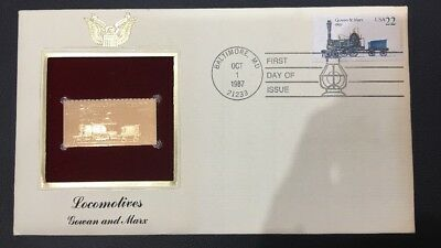1987 Locomotives Gowan And Marx  Gold Stamp With First Day Cover limited Edition