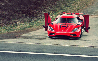 "RED KOENIGSEGG AGERA R A4 POSTER GLOSS PRINT LAMINATED 11.7""x7.3"""