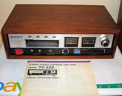 SONY TC-228 STEREO 8 TRACK RECORDER PLAYER & MANUEL -Museum Condition- Japan