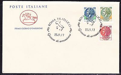 "Italy 1977 Coins Multi  ""Official""  First Day Cover  Unaddressed"