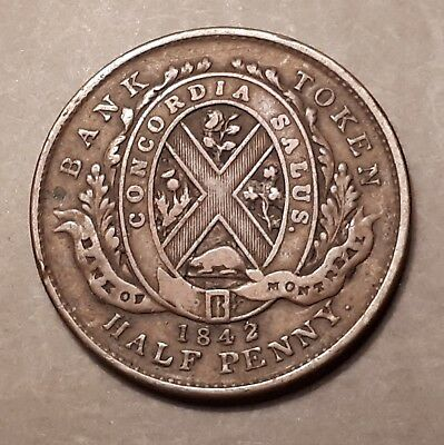 1842 Bank of Montreal (Province of Canada) Half Penny Bank Token (175 Years Old)