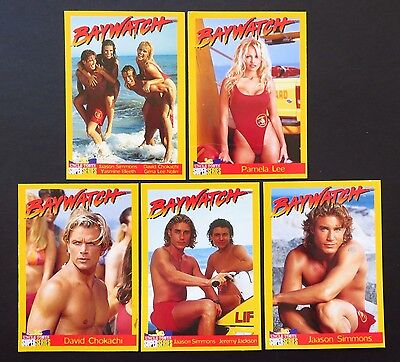 UNCLE TOBYS 1990's BAYWATCH TRADING CARDS X 5 PAMELA LEE, JAASON SIMMONS ETC