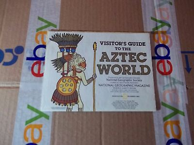 vintage map, National Geographic map visitors guide to the Aztec world 1980