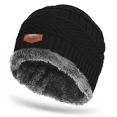 Men Stretch Cable Knit Lined Thick Warm Winter Wool Slouchy Beanie Hat Cap Black