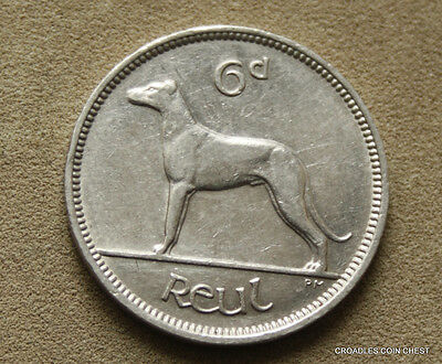 Ireland Republic 1940 Sixpence Wolf Hound Circulated Condition Irish #haaf9