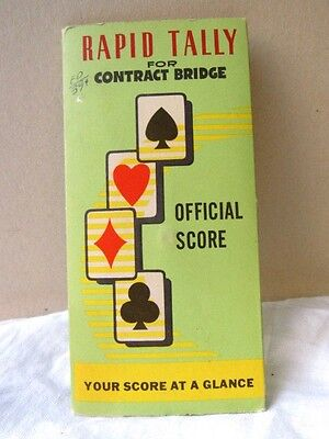 RAPID TALLY 4 CONTRACT BRIDGE OFFICIAL SCORE POINTS SLIDE CARD Pad Copp VINTAGE