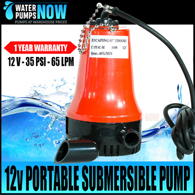12V Submersible Continuous Duty Manual Water Pump Compact Portable Dirty Salt