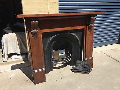 Vintage Cast Iron Fireplace And Timber Surround