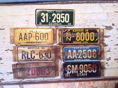 Lot Of Seven Vintage Retro 1960'S Cereal Box Tin Bicycle License Plates