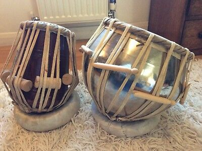 Pair Indian tabla drums, one wood,one metal with case