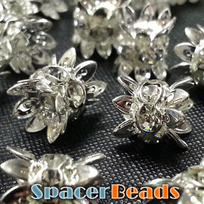 10 Silver Plated Clear Crystal Roundelle with Cap Spacers Beads 8mm