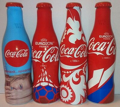 Coca-Cola set of 4 empty bottles 0,25 l from Russia Euro 2016