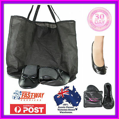 Foldable black ballet flats Expandable CARRY BAG for heels size 7 8 9 10 11 12