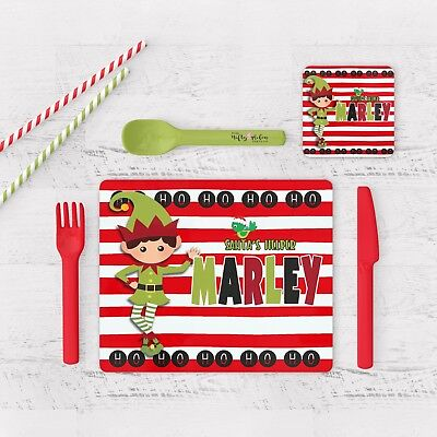 Personalised Childrens Christmas Placemat And Coaster Elf (Boy),xmas Placemat