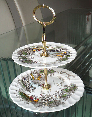 Vintage Two Tier Cakestand - Myott -  Lakeside Pattern      #