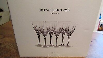 NWOT Royal Doulton Set of 6 BELVEDERE Fine Crystal Wine Glasses *un-used in box*