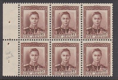 New Zealand 1½d Brown King George VI Booklet pane Inv watermark UHM. SG 607a